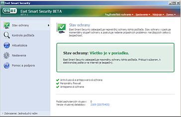 ESET Smart Security - uživatelské rozhraní