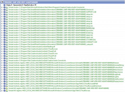 TU - seznam provedených akcí při odinstalaci programu