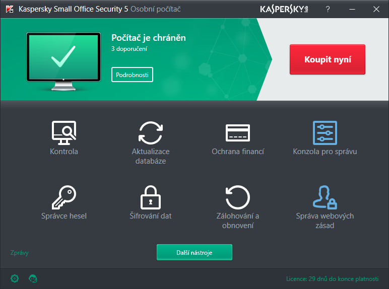 Náhled obrazovek - Kaspersky Small Office Security