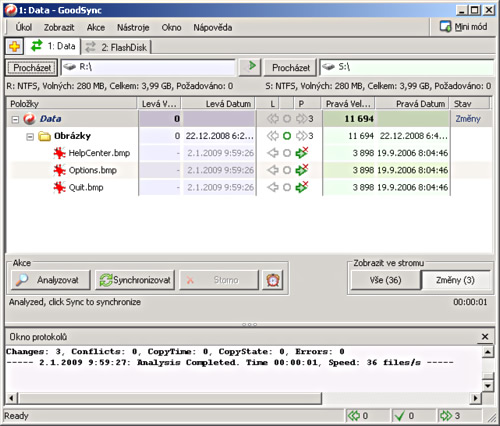 GoodSync - náhled obrazovky, čeština