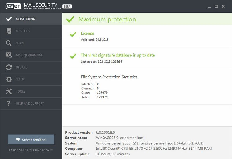 ESET Mail Security 6 pro MS Exchange Server
