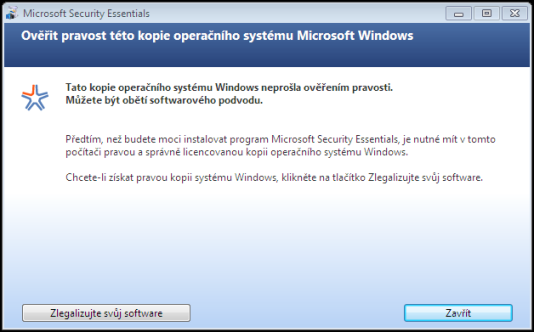 Security Essentials a neoriginální Windows